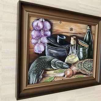 """Картина """"После рыбалки"""", 39*49 см, холст на подрамнике, акрил, ручная работа"""