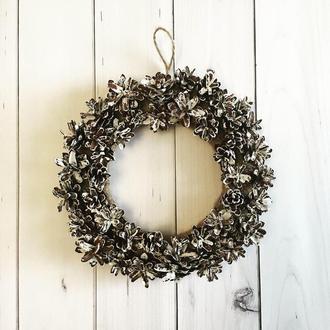Венок на двери, венок из шишек, свадебный декор, эко декор, веночки натуральные, рождественский вено