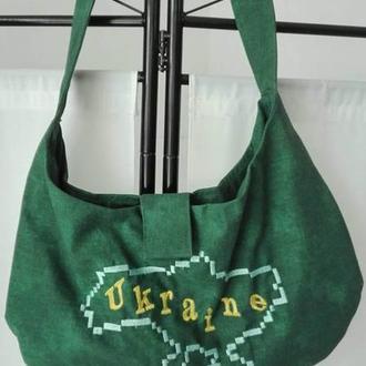 Женская летняя сумка зеленого цвета из ткани с машинной вышивкой
