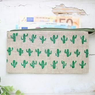 """Льняной кошелек """"Кактусы"""" с двумя отделениями для купюр и одним для карточек"""