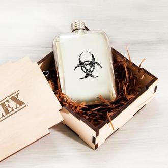 Металлическая фляга «Radiation» именная, коробка в подарок