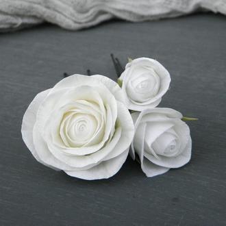 Шпильки для волос с цветами, Белые розы в прическу для невесты