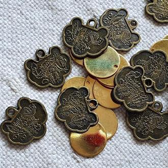 китайські монетки + блискучі, 20 шт.