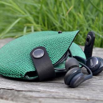 Кожаный чехол для наушников Кожаный органайзер Подарок из кожи