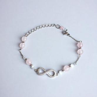 Браслет из кошачьего глаза  и розового кварца (модель № 388) JK jewelry