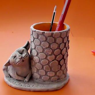 Карандашница с котиком Подарок подставка под карандаши