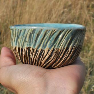 Чайная чаша, Керамическая чаша с бирюзовой поливой