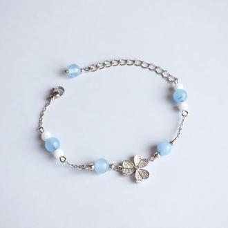 Браслет из аквамарина и белого нефрита (модель № 390) JK jewelry