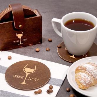 Набор деревянных подставок под горячее для дома «Wine not?»