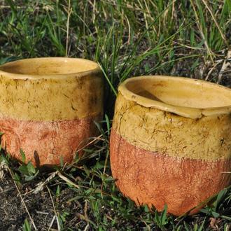 Пара чайных чаш, керамические чашки с глазурью медового цвета