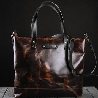 Кожаная сумка шоппер Tote bag на молнии