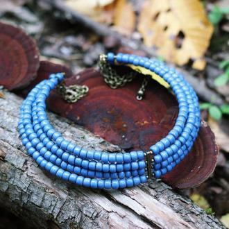 Бусы-воротничок из лазурно-синих бусин