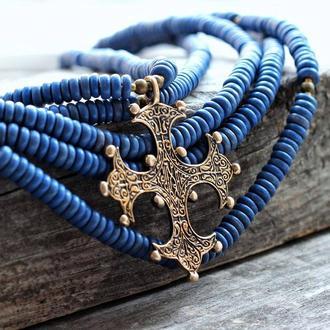 Бусы из синих керамических бусин с Византийским крестом