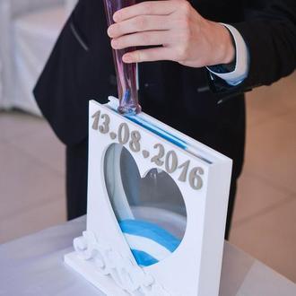 короб-рамка с вензелями для песочной церемонии