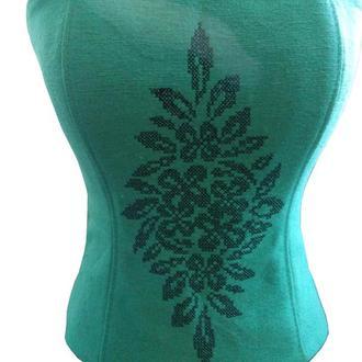 Женский корсет зеленого цвета с машинной вышивкой из натуральной ткани