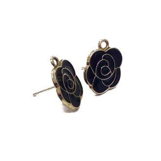 Квадратные швензы-гвоздики с черной эмалью, золото | № 01164