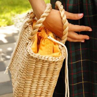 Соломенная сумка dark yellow стильна солом'яна сумочка