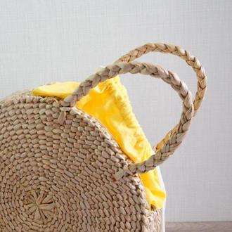Сумка соломенная круглая солом'яна #yellow кругла велика сумка