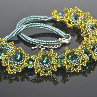 """Колье из бисера в технике """"огалала"""", ажурное украшение на шею, ожерелье."""