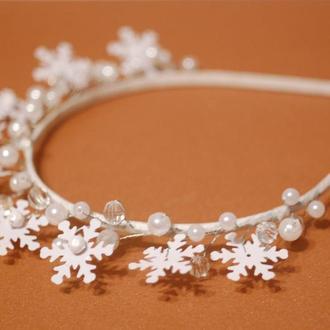 Новогодние ободки под костюм Снежинка