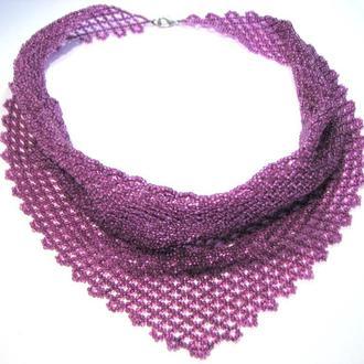 Колье - косынка из бисера, стильное украшение на шею