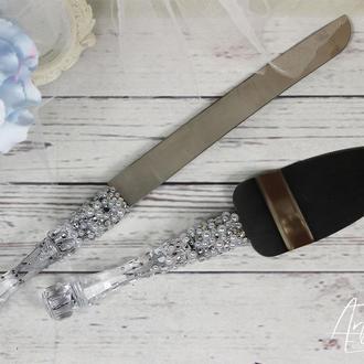 Свадебные лопатка и нож для торта с жемчугом и сияющими стразами