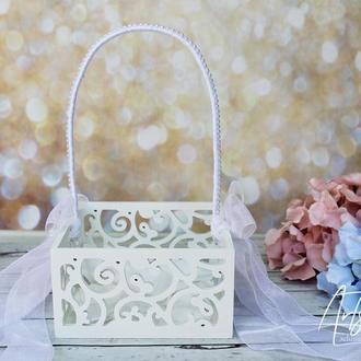 Свадебная корзина для лепестков роз с бантами, морскими звездами и жемчугом