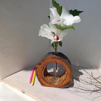 деревянная подставка для цветов,современная ваза,ваза подарочная,декоративная ваза,подарок для нее,