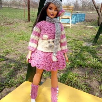 Юбка, свитер, гетры, берет, шарф для Барби Barbie пышки