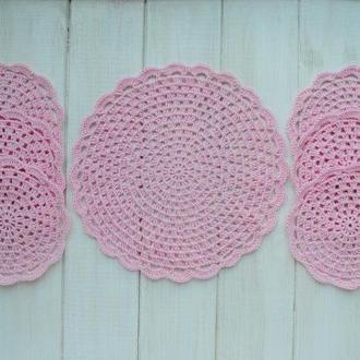 Набор подставок под чашки 7 шт / чайный набор / набор светло-розовых салфеток вязаных крючком