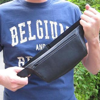 сумка бананка, мужская поясная сумка, через плечо, ручная работа, натуральная кожа