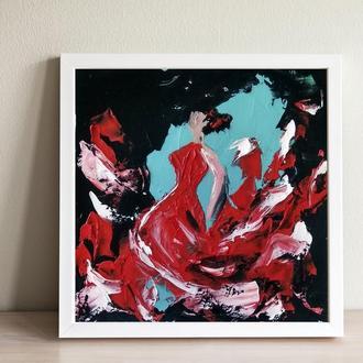 Танцівниця фламенко 1 (картина масло/полотно на картоні) 20х20 см