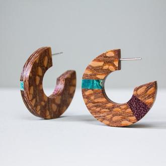 Яскраві дерев'яні сережки кільця