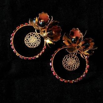 Большие круглые серьги-люстры с натуральным черным жемчугом
