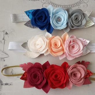 Повязка из фетра фетровые повязки цветочная повязка фетровые цветы повязки для мамы и дочки