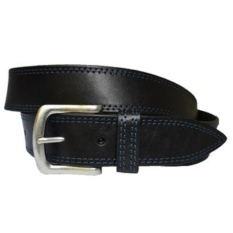 Forward кожаный мужской ремень черный пояс  простроченный с синей строчкой для джинсов