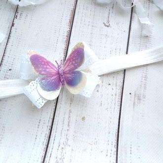 Повязка с бабочкой для девочки, повязка на годик