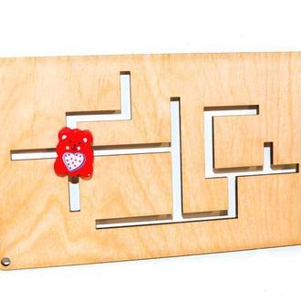 Заготовка для бизиборда Деревянный Лабиринт + Ползунок дерев'яний лабіринт для бізіборда