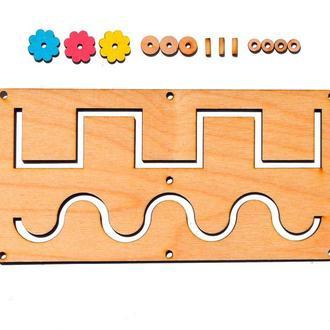 Заготовка Деревянный Лабиринт для бизиборда Двойной + Бегунок дерев'яний лабіринт для бізіборда Подр