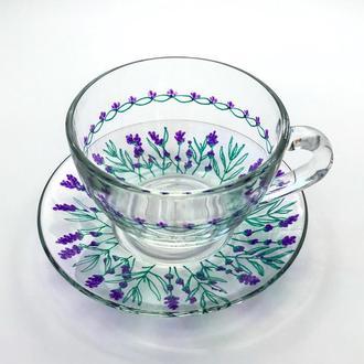 Чашка з блюдцем. Скло. розпис. Лавандовий декор в стилі Прованс.