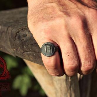 Кованое Железное Кольцо с Руною Уруз Uruz Rune