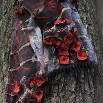 Червоно-чорний валяний шарф ЧЕРВОНА ПРИСТРАСТЬ