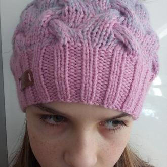 Женская розово-серая шапка с бумбоном из натурального песца
