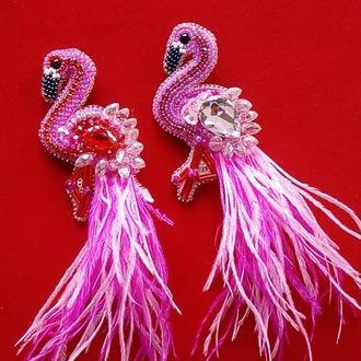 Роскошная брошь розовый фламинго для прекрасных и нежных модниц всех возрастов