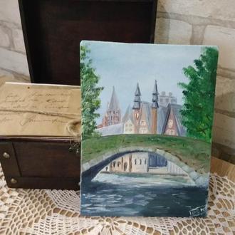 """Картина маслол """"Мостик в Праге"""""""