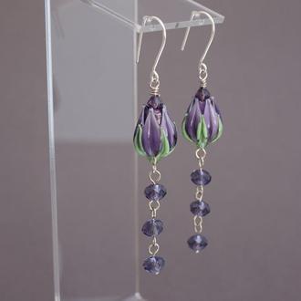 Серьги Цветы фиолетовые лэмпворк