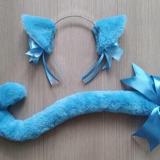 Набор для костюма кошки голубой, карнавальный костюм.