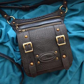 """Черная кожаная сумка на ремне для мужчин """"Furmani"""""""