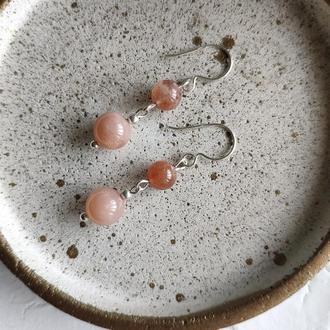 Срібні сережки з сонячними каменями