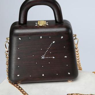 """Деревянная сумка (Wood Bag ) """"Clock"""""""
